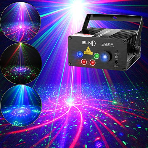 SUNY Stage Party Lights Music Show DJ 128 Combinations Christmas DJ Projector Indoor 5 Lens 3 Color RGB Decoration Light Blue LED Remote Control Stage Lighting Sound Activated Party House Xmas Gifts