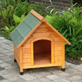 Caseta de perro para exterior, de madera ligera, con techo...