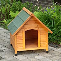 Pitched Roof dog house Protects against cold and dampness with its 8.5cm high feet Light wood treated with oil based paint and strengthened roof material protects from sun, rain and snow. Sturdy & attractive dog kennel with a long life. Comes in 4 di...