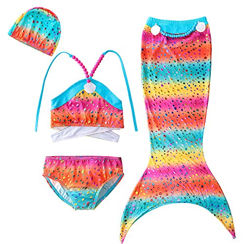 3Pcs Mermaid Tail for Baby Girls Swimming Mermaid Bathing Suits Swimsuit Bikini Set 3-12 Years