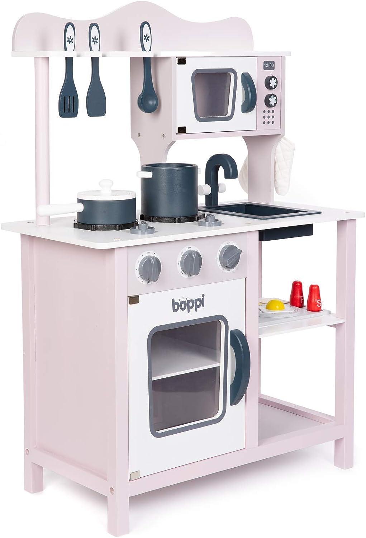diseño simple y generoso Boppi- Cocina Cocina Cocina de Madera para Niños con 19 Accesorios - Morado Malva y gris  venta al por mayor barato