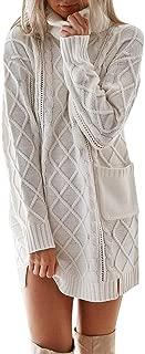 Aunimeifly Winter Warm Women Sweater Knit Dresses Ladies Turtleneck Long Sleeve Pocket Loose Stylish Mini Dress