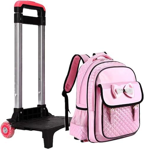 Rollende Schultasche Wasserdichter Trolley Rucksack - mädchen Wasserfester PU Leder Rucksack (Rosa)