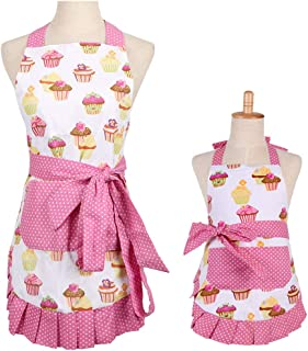 FirstKitchen Apron for Women with Pockets, Extra Long Ties, Cupcake Apron, Perfect for Kitchen Cooking, Baking and Gardening, 29 x 21-inch (Mama and Me Set)
