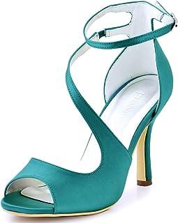 384f90b8c9 ElegantPark Women's Peep Toe High Heels Buckles Satin Evening Party Prom  Sandals