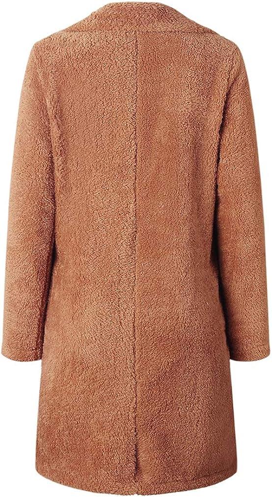 Damen Mantel Lang Jacke Parka Outwear Warm Künstliche Wolle Winter Plüschjacke Frauen Cardigan Revers Lose Coat 6 Farben S-XXXL Gelb