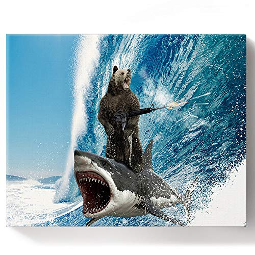 FOREVER20 Paint by Numbers DIY Acrylic Painting Kit for Adults Kids Beginner Funny Bear with Machine Gun and Shark Surfing Ocean Wave on Canvas Wooden Framed for Bedroom Livingroom Wall Decor 16x20in