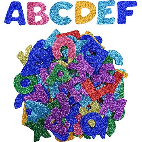 eBoot Autoadesivi Glitter della Schiuma Lettera Sticker Auto Adesivo Lettere, Lettere da A a Z, 5 Set, Colori Assortiti, Totalmente 130 Pezzi
