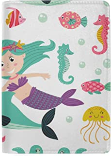 Set of Beautiful Mermaid with Animals Blocking Print Passport Holder Cover Case Travel Luggage Passport Wallet Card Holder Made with Leather for Men Women Kids Family
