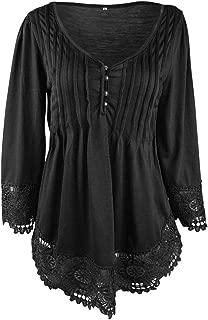 Wiwsi Women V Neck 3/4 Sleeve Oversize Lace Blouse Patchwork Fashion Shirt Tops