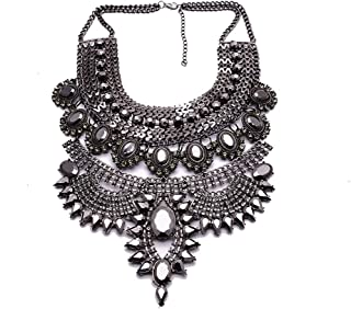 Fashion Chunky Necklace Luxury Crystal Bib Collar Necklace Costume Jewelry for Women 7 Colors 1 Pc