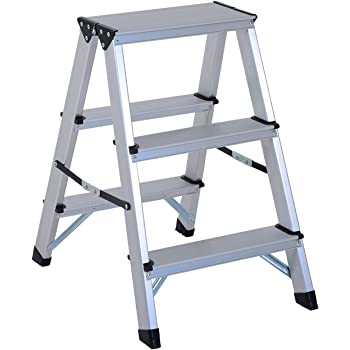 HOMCOM Escalera de Tijera Aluminio Plegable Escalera Doméstica de Mano Ambos Lados 3 Peldaños Carga 150kg: Amazon.es: Bricolaje y herramientas
