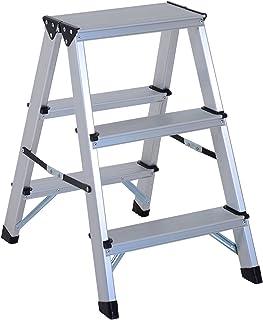 comprar comparacion HOMCOM Escalera de Tijera Aluminio Plegable Escalera Doméstica de Mano Ambos Lados 3 Peldaños Carga 150kg