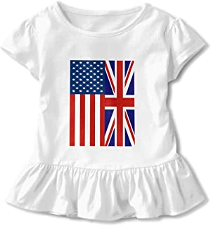 HYBDX9T Little Girls' British American Flag Funny Short Sleeve Cotton T Shirts Basic Tops Tee Clothes