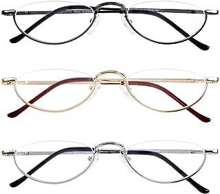 Half Frame Reading Glasses 3 Pack,Semi-Rimless Half Moon Readers For Men - Women