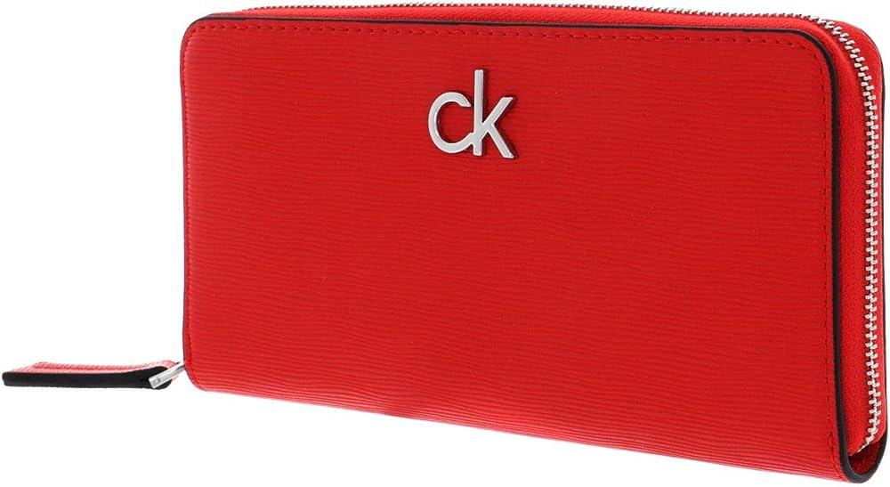 Calvin klein long zip around wallet vibrant coral ,borsa per donna , in pelle sintetica K60K608122-XA7