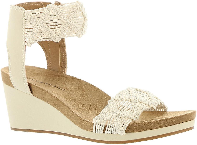 Lucky Brand Womens Kierlo Faux Leather Platform Sandals Ivory 6.5 Medium (B,M)