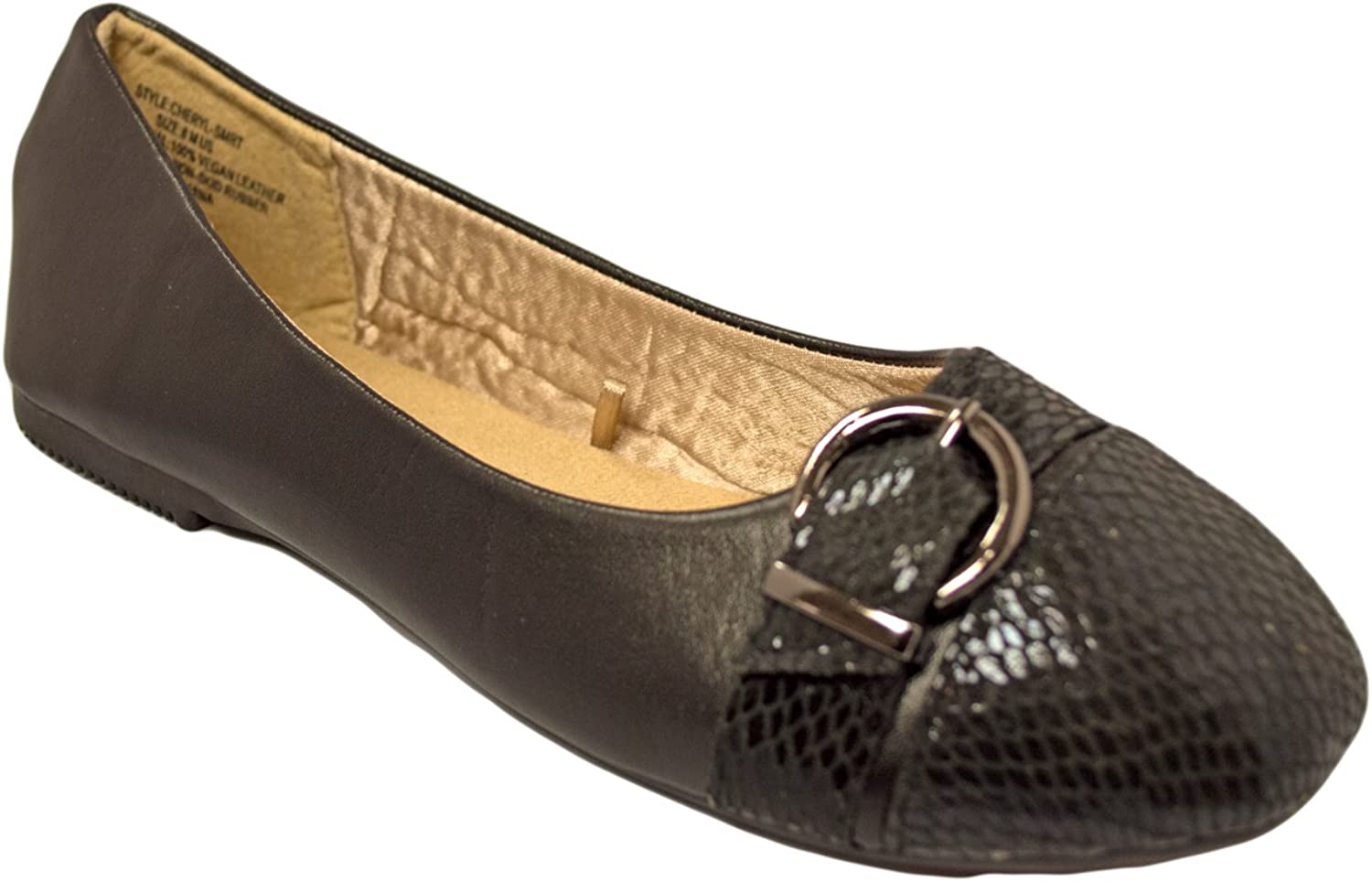 Charles Albert Women's Vegan Leather Memory Foams with Buckle Strap Ballet Flat