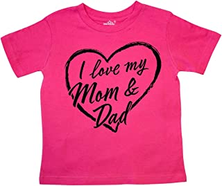 I Love My Mom and Dad in Black Chalk Heart Toddler T-Shirt