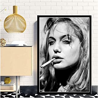 Angelina Jolie Smoking Girl Pop Pretty Sexy Woman Poster Bar Prints Wall Art Picture for Living Room Home -50x70cm sin Marco