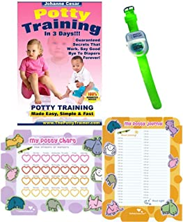 Potty Training in 3 Days - Ultimate Potty Training for Girls Boys & Toddlers Complete Kit Includes Potty Training in 3 Days Book, Laminated Potty Training Charts & Green Potty Time Watch (Green)