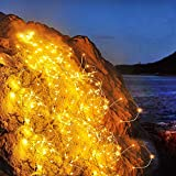 Ibello - Ghirlanda luminosa con filo di rame, 10 m, 100 LED, illuminazione bianca calda, decorazione per interni, per vaso da parete, festa, Natale, camera