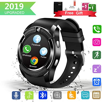 Bluetooth Smart Watch with Camera Touchscreen,Waterproof Smartwatch Unlocked Phone Watchs with SIM Card Slot, Smart Wrist Watch Compatible with Android iPhone X 8 7 6 5 Plus (V8)