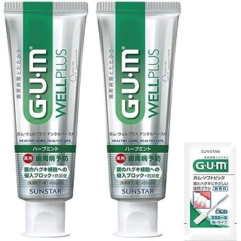 【Amazon.co.jp限定】 GUM(ガム) ウェルプラス 歯周病予防 ハミガキ ハーブミント (高濃度フッ素1450ppm配合) 125g×2個+おまけ付き