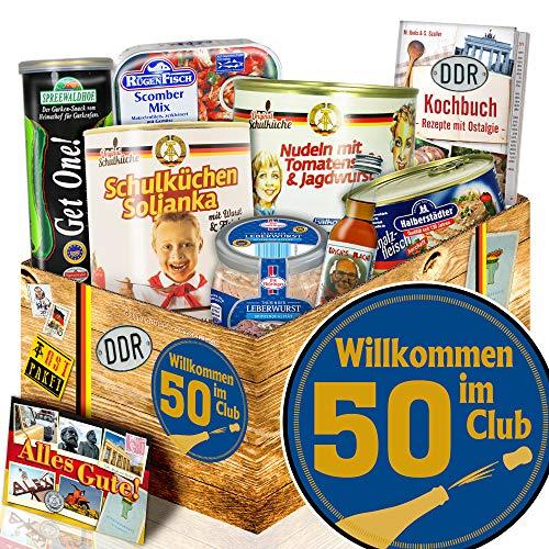 Wilkommen im Club 50 + Geschenke 50 Geburtstag + Ostprodukte Set