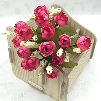 HNFSBOX 15heads Mini Silk Peony Artificial Flowers Bride Bouquet Fake Rose Bouquet Flores Wedding Home PartyB