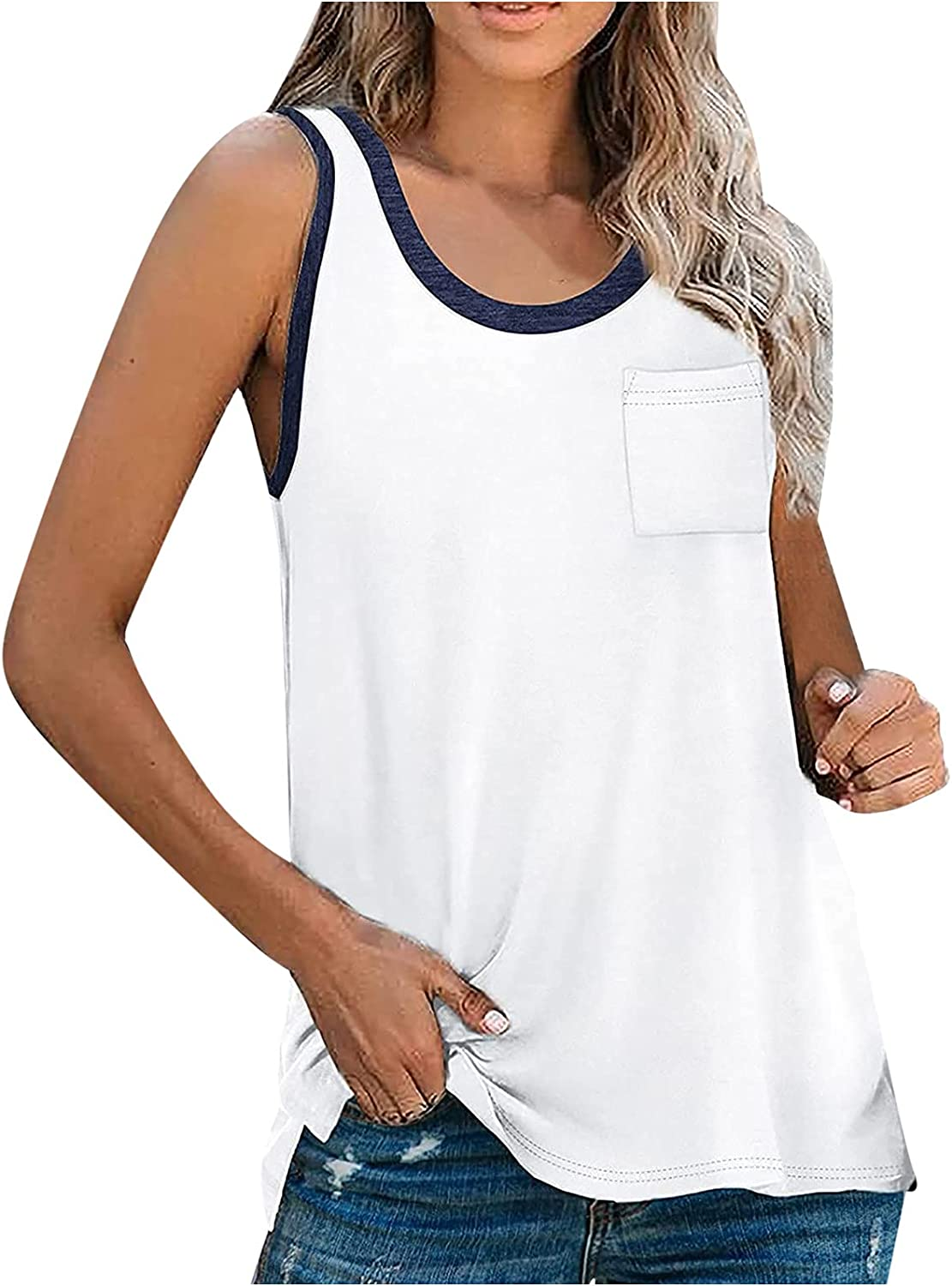 Women's Sleeveless Tank Top Rond Neck Splicing Camisole for Leggings Pocket Front Casual Cami Top