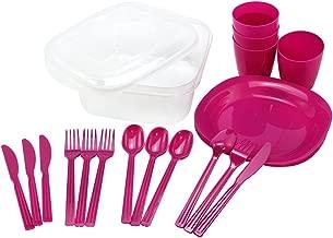 com-four® Accesorio de Picnic de 21 Piezas en Color Rosa, arnés de Camping, arnés de Viaje, Ahorro de Espacio e higiene. (21 Piezas - Rosa)