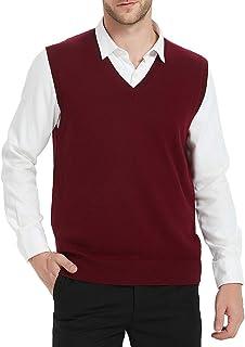 Kallspin Men's Cashmere Wool Blend Relax Fit V Neck Vest Sweater Knit Sleeveless Pullover