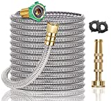 Steel Metal Garden Hose 50FT - Heavy Duty Lightweight 304 Stainless Steel Metal Water Hose with Brass Nozzle, Durable Fittings, No Kink & Tangle, Puncture Resistant, Easy to Use & Store