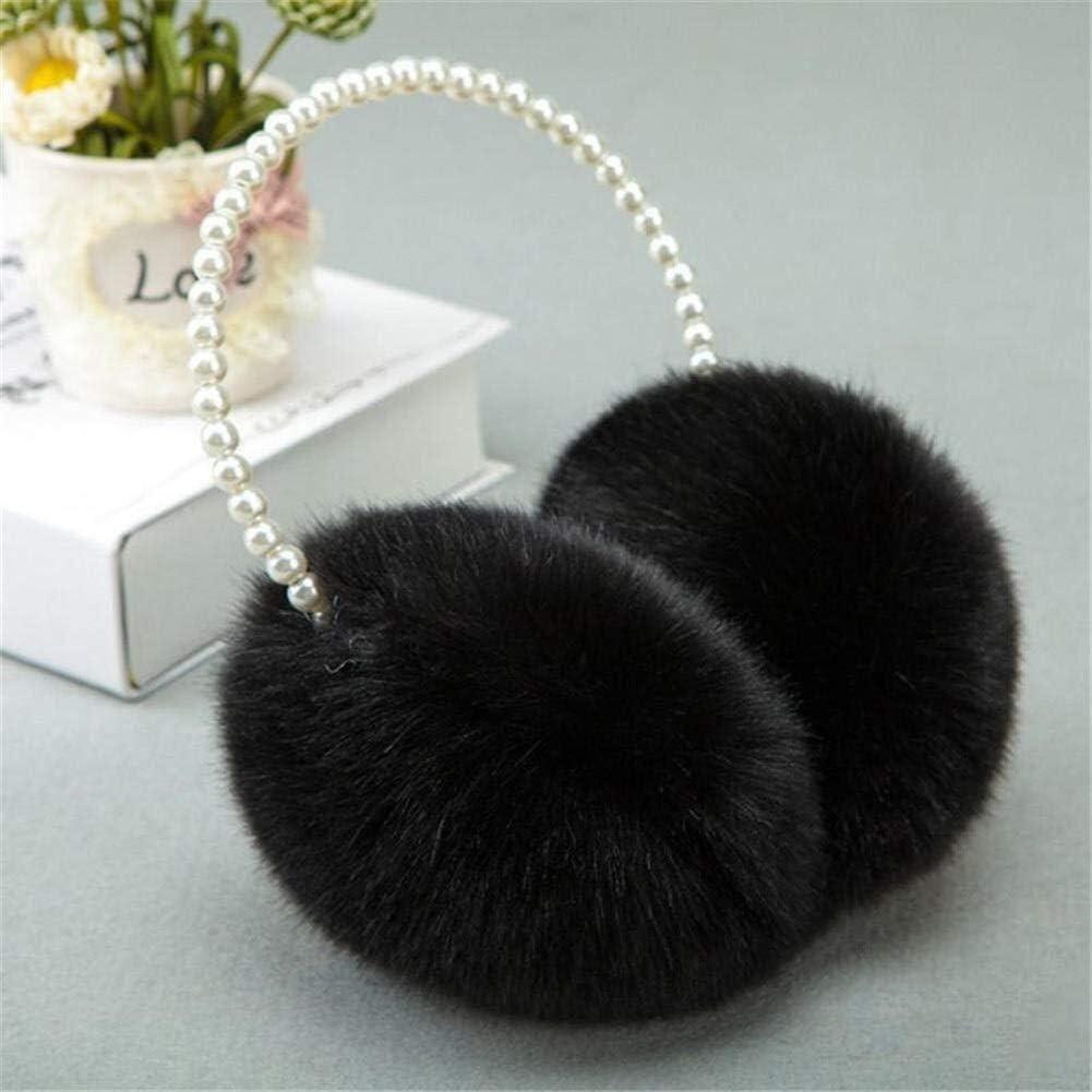 ZYXLN-Earmuffs ,Women Girls Winter Fluffy Plush Earmuffs Imitation Pearl Beaded Headband Cold Weather Earmuffs Earmuffs Winter Outdoor Earmuffs Warm Earmuffs (Color : Black)