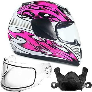 Typhoon Helmets Youth Kids Full Face Snowmobile Helmet DOT Dual Lens Snow Boys Girls - Pink (Medium)