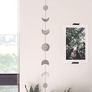 Moon Decor Wall Decorations | Boho Accents Wall Decor | Moon Phases Wall Art | Moon Phase Wall Hanging | Bohemian Decor for Bedroom, Home, Living Room, Apartment or Dorm (Banner, Silver Metal)