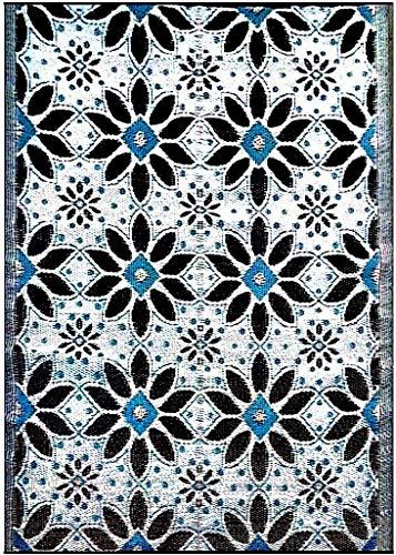 BalajeesUSA Outdoor Patio Rugs clearance 5'x7' (152 cm x 214 cm) Sky Blue, Black, Grey 20287