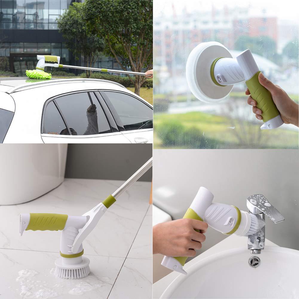 Cepillo de limpieza, cepillo giratorio para limpieza eléctrica con 7 cepillos y 1 mango de extensión para cuarto de baño, azulejos, juntas, bañera, cocina, campana extractora, azulejos: Amazon.es: Hogar