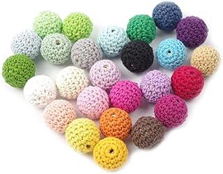 Mamimami Home 歯がため 木製 知育玩具 はがため かぎ針編みのビーズ 16MM/30個 26色混合色 赤ちゃん 舐める 安全 コットン 木のおもちゃ 歯固め 出産祝い 誕生日プレゼント DIY アクセサリー「FDA認可済」「BPAフリー」