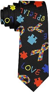 Autism Awareness Ribbon Classic Men Silk Tie Woven Jacquard Neck Ties