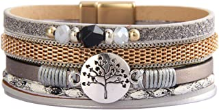 GelConnie Leather Wrap Bracelet Boho Cuff Bracelet Gold Plated Magneitc Multi Strand Bracelet Bohemian Gift for Women, Sis...