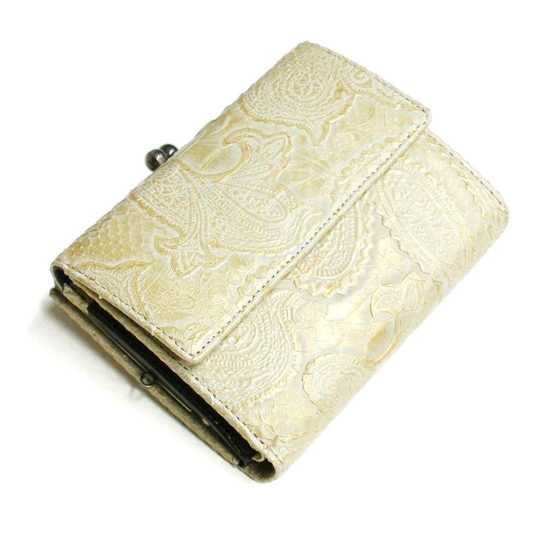 交換せっかちヘアPPZ1273-GOLD 蛇革 財布(札入)外付がま口蛇革財布(パイソン革):ペイズリー ゴールド
