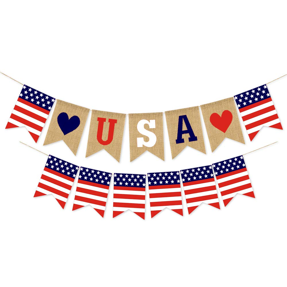 USA Banner and US Flag Free shipping on posting reviews of July Bunting Sacramento Mall Decorations 4th