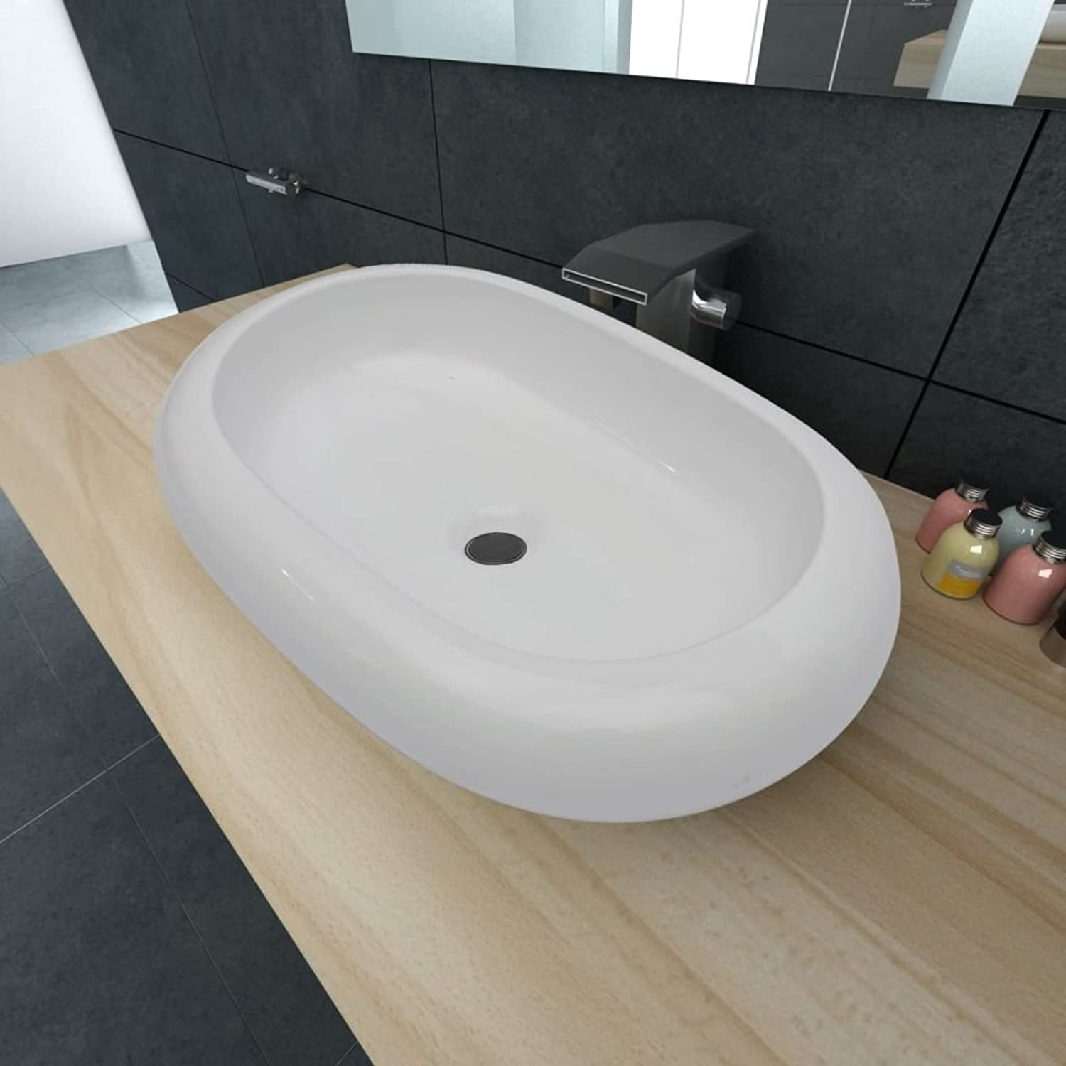 SENLUOWX Luxurious White Oval Ceramic Countertop Wash Basin with 63?x 42?cm