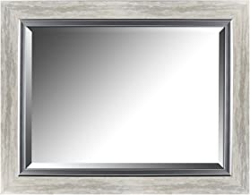 Mirrorize Silver Leaf Gradient Frame With Liner Beveled Mirror| Vanity,Hallway,Bathroom, Bedroom | 27.25x35.25 (Inner mirror 20X28)|Silver| Rectangle| Large Bevelled Mirror