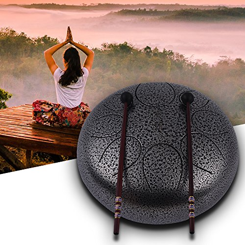Steel Tongue Drum Muslady 10 Inch Handpan Drum Hand Drum Percussion Instrument with Drum Mallets Carry Bag Note Sticks for Meditation Yoga Zazen Sound...
