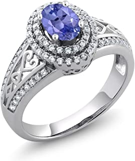 Gem Stone King Sterling Silver Blue Tanzanite Women's Ring (1.31 cttw Gemstone Birthstone Available 5,6,7,8,9)