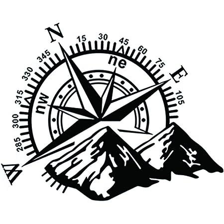 Generic Kompass In 20x20cm Oder 30x30cm Aufkleber Windrose Aufkleber Wohnmobil Und Auto Aufkleber 185 30x30cm Schwarz Glanz Garten