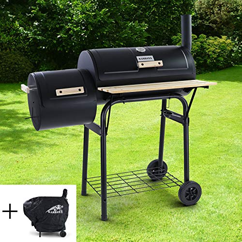 RAMROXX 38337 BBQ Smoker Holzkohle Grillwagen RX970 Grill Barbecue für Garten Terrasse